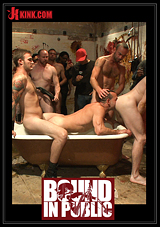 Bound In Public: Muscled Stud With A Big Dick Cattle Prodded And Gang Fucked
