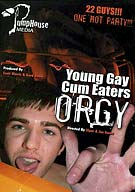 If you'd enjoy watching lots of smooth, young guys getting it on with others in a jizz soaked, cum gobbling orgy, then PumpHouse Media's Young Gay Cum Eaters Orgy is something you're gonna wanna see. Twenty-one hot dudes turn an underground rave into a horizontal Mambo before the DJ can mix into his second song. The joint is so hoppin' with hot mouth-fucking that even the DJ puts down the vinyl and whips out his cock.