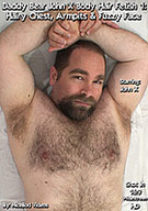 Hairy daddy bear stud John X returns in a sexy body hair fetish video for all the man fur lovers out there! This first installment focuses on John's sexy furry chest, hairy belly, armpits, face, arms and hands. The camera gets you in close as beefy bear stud John X runs his fingers through his sexy body hair so you can see every detail! Daddy bear John X plays with his nipples, beard, belly button, and he sniffs, licks and even sucks his own armpit hair! Want some daddy bear cum? You're in luck because daddy bear John X rubs his beautiful curved cock for you and even hits himself in the face with semen from the incredible projectile cumshot. Then he tastes his own cum!