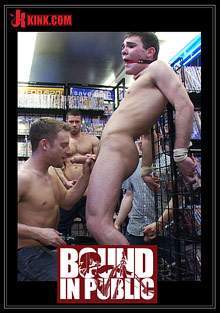 Gay Orgy GroupSex : Bound In Public: Tristan Jaxx, Leon Knight And Jimmy Fanz!