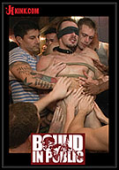 Bound In Public: Stud In A Metal Cage Is Fucked By Horny Bar Patrons