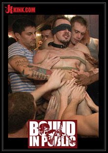 Bound In Public: Stud In A Metal Cage Is Fucked By Horny Bar Patrons cover
