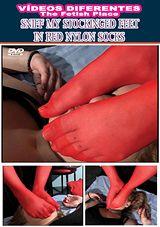 Sniff My Stockinged Feet In Red Nylon Socks