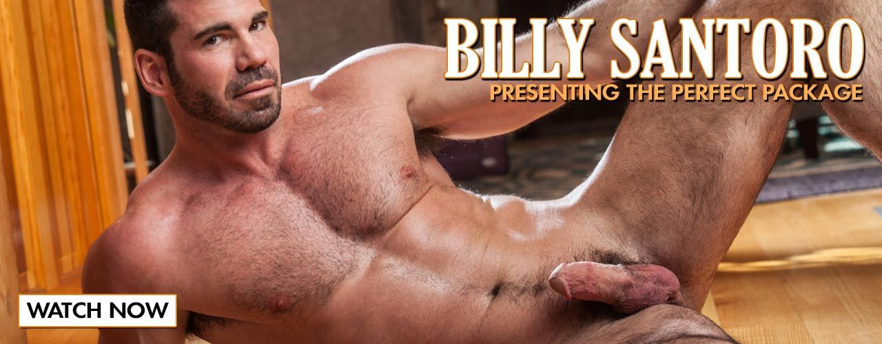 Don't miss Billy Santor in action, you will love his ripped furry chest leading to his thick cock.