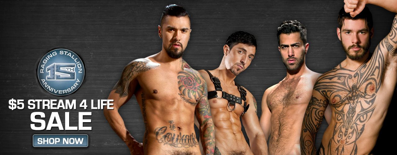Celebrate Raging Stallion's 15th Birthday with $5 Stream-For-Life on all of their movies.