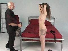 Master len canes and spanks a young brunette victim slave girl in dungeon 6