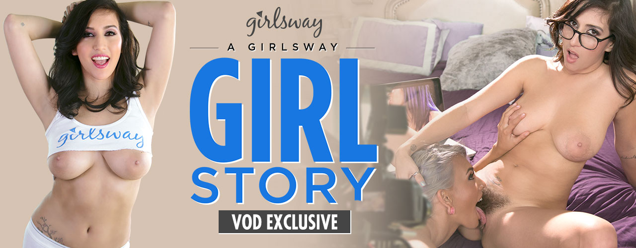 GirlsWay: A Girlsway Girl Story features April O'Neil, Janice Griffith, Jenna Sativa, Kalina Ryu, Kristina Rose, and Marie McCray eating peaches and pussy.