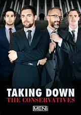 taking down the conservatives, griffin barrows, gay, porn, dirk caber, diego sans, eddie walker, white color, suits, parody