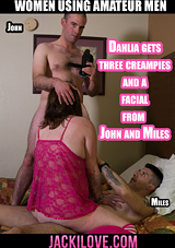 Dahlia Gets Three Creampies And A Facial From John And Miles