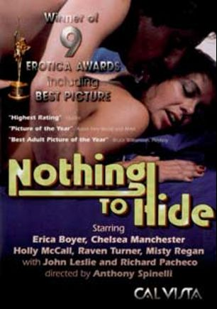 Nothing To Hide, starring Raven Turner, Erica Boyer, Tigr, Elizabeth Randolph, Chelsea Manchester, Michael Johnson, Holly McCall, Aaron Stuart, Pat Manning, Misty Regan, John Leslie and Richard Pacheco, produced by Cal Vista Classic.