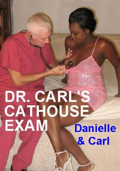 "Adult entertainment movie ""Dr. Carl's Cathouse Exam"" starring Danielle & Carl Hubay. Produced by Hot Clits Video."