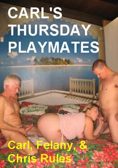 "Adult entertainment movie ""Carl's Thursday Playmates"" starring Felony (ll), Chris Rules & Carl Hubay. Produced by Hot Dicks Video."
