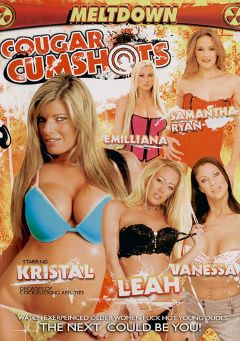 "Adult entertainment movie ""Cougar Cumshots"" starring Leah Moore, Vanessa Videl & Emilianna. Produced by Meltdown."