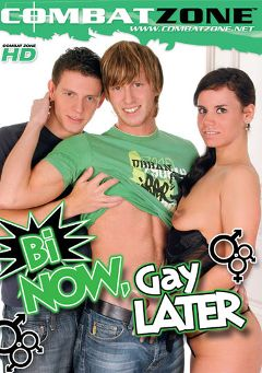 "Adult entertainment movie ""Bi Now, Gay Later"" starring Marty Marshall, Denis Reed & Max Bozman. Produced by Combat Zone."