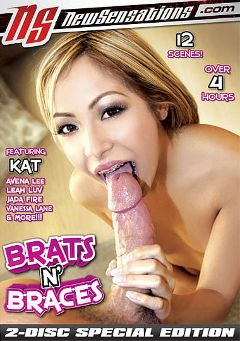 "Adult entertainment movie ""Brats N' Braces Part 2"" starring Kat Kiss, Leenuh Rae & Amai Liu. Produced by New Sensations."