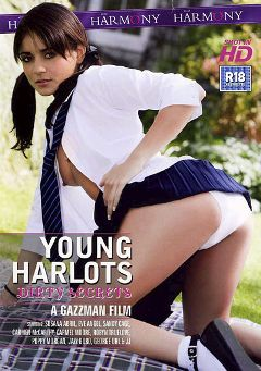 "Adult entertainment movie ""Young Harlots: Dirty Secrets"" starring Susana Abril, Sandy Cage & Robyn Truelove. Produced by Harmony Films Ltd.."