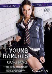 "Featured Star - Amber Rayne presents the adult entertainment movie ""Young Harlots: Gang Bang""."