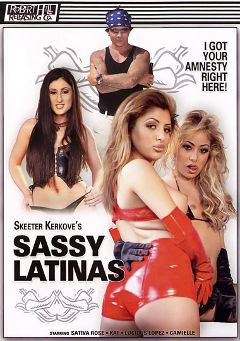 "Adult entertainment movie ""Sassy Latinas Who Cum From Their Ass"" starring Luscious Lopez, Sativa Rose & Kat Kiss. Produced by Robert Hill Releasing Co.."