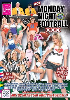 "Adult entertainment movie ""Not Monday Night Football XXX"" starring Delila Darling, Cindy Jones & Tatum Pierce. Produced by Hustler."