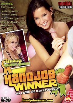 "Adult entertainment movie ""Handjob Winner"" starring Tanner Mayes, Angelina Armani & Deanna Daniels. Produced by Immoral Productions."