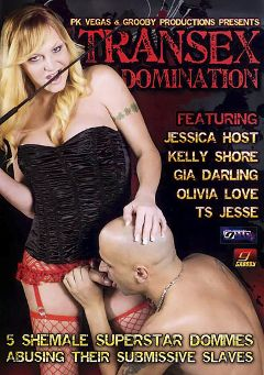 "Adult entertainment movie ""Transex Domination"" starring Gia Darling, TS Tesse & Kelly Shore. Produced by Grooby Productions."