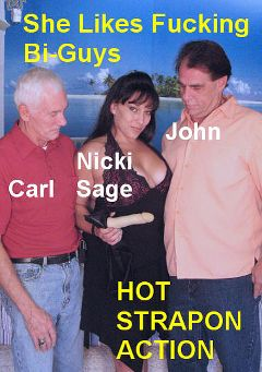 "Adult entertainment movie ""She Likes Fucking Bi-Guys"" starring Nicki Sage, Carl Hubay & John. Produced by Hot Dicks Video."