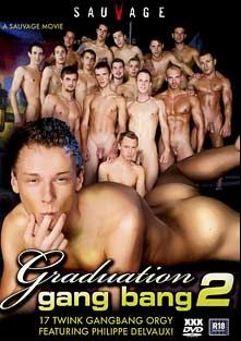 Graduation Gang Bang 2, starring Rico Armin, Lucas Leung, Jacob Bishop, Hunter Lea, Eric Harper, Jesse Shaw, Alan Craft, Milos Zambo, Zac Powers, Zack Hood, Marcel Bimore, Philippe Delvaux, Martin Corvin, John Paul, Kamil Fox, Ondrej Sokol and Johan Volny, produced by Staxus.