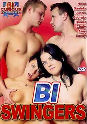 Bi Swingers, starring Justin *, Daniel *, Georgio *, Cindy Gold, Daniela *, Lucky Smile, Amy * and Nicol *, produced by Bi Curious Entertainment.