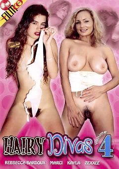 "Adult entertainment movie ""Hairy Divas 4"" starring Kayla, Rebecca Bardoux & Zexx-ee. Produced by Filmco."