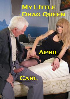 "Adult entertainment movie ""My Little Drag Queen"" starring April (o) & Carl Hubay. Produced by Hot Shemales Video."