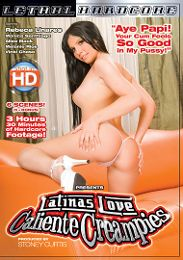 "Featured Star - Rebeca Linares presents the adult entertainment movie ""Latinas Love Caliente Creampies""."