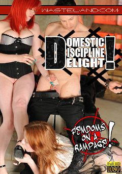 "Adult entertainment movie ""Domestic Discipline Delight"" starring Mistress Irony. Produced by Wasteland Studios."