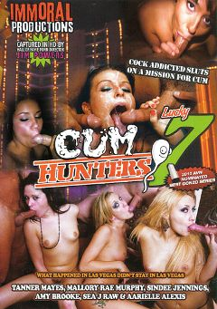 "Adult entertainment movie ""Cum Hunters 7"" starring Sea J. Raw, Mallory Rae & Amy Brooke. Produced by Immoral Productions."