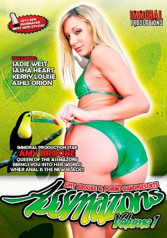 "Adult entertainment movie ""Assmazons"" starring Amy Brooke, Kerry Louise & Sadie West. Produced by Porno Dan Presents."