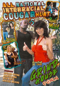 "Adult entertainment movie ""All National Interracial Cougar Hunt 5"" starring Jaycie Lane, Desi Fox & Joclyn Stone. Produced by Grind House Porn."