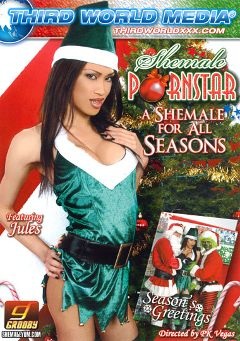 "Adult entertainment movie ""Shemale Pornstar: A Shemale For All Seasons"" starring Jules (o), Kimberly Kills & Foxxy (o). Produced by Grooby Productions."