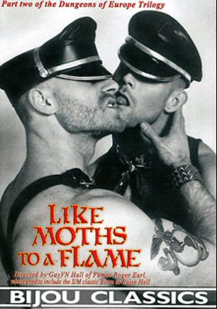 Like Moths To A Flame, starring David Gregory, Dick Johnson, Mr. Sebastian, Ben Kent, Christian Dreesen, Ted DeBurin, Ken Dearn and David Schultz, produced by Bijou Gay Classics.