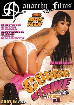 "Adult entertainment movie ""Cougars Strike 5"" starring Mahina Zaltana, Katie Angel & Tera Dice. Produced by SGO Inc."