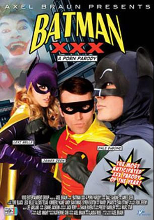 Batman XXX: A Porn Parody, starring Lexi Belle, Stewart Tain, Jack English, Hawthorne Ramon, David Alan, Lee Garland, Syren Sexton, Levi Cash, Andy San Dimas, Tori Black, Alexis Texas, James Deen, Alec Knight, Kimberly Kane, Dale DaBone, Ron Jeremy, Randy Spears and Evan Stone, produced by Vivid Entertainment and Axel Braun Productions.