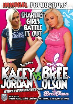 "Adult entertainment movie ""Kacey Jordan Vs. Bree Olson"" starring Kacey Jordan, Bree Olson & Amy Brooke. Produced by Immoral Productions."