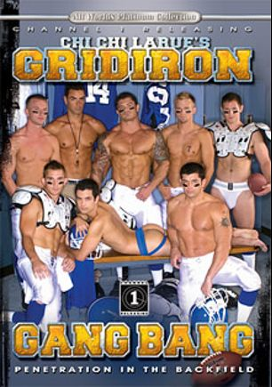 Gridiron Gang Bang, starring Spencer Whitman, Dayton O'Connor, Josh Griffin, Cameron Adams, Cameron Marshall, Vance Winter, Johnny Hazzard, Mitchell Rock and Jeremy Bilding, produced by All Worlds Video and Channel 1 Releasing.