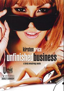 Unfinished Business, starring Kirsten Price, Vicki Chase, Bill Bailey, Seth Gamble, Amia Miley, Madison Ivy, Asa Akira, Dane Cross, Misty Stone, Aubrey Addams, Alektra Blue, Kris Slater, Danny Mountain, Chris Johnson, T.J. Cummings and Randy Spears, produced by Wicked Pictures.