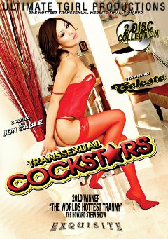 "Adult entertainment movie ""Transsexual Cockstars"" starring Celeste Fuentes, Grazielle & Giovanni (o). Produced by Ultimate T-Girl Productions."