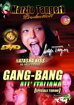 "Adult entertainment movie ""Gang-Bang All' Italiana"" starring Natasha Kiss, Angelica Bella & Giulia Orsi. Produced by Pinko Enterprises."