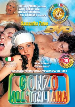 "Adult entertainment movie ""Gonzo All 'Italiana"" starring Teresa, Silvia & Eva. Produced by Pinko Enterprises."