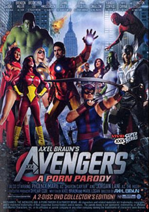 Avengers XXX A Porn Parody, starring Brooklyn Lee, Samantha Swallows, Danni Cole, Jenna Presley, Joanie Laurer, Corey Mathews, Xander Corvus, Brendon Miller, Jordan Lane, Phoenix Marie, Slick Rhodes, Lexington Steele, Eric Masterson, Dale DaBone and Evan Stone, produced by Vivid Entertainment.