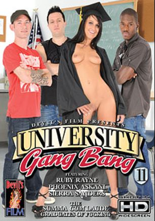 University Gang Bang 11, starring Phoenix Askani, Sierra Miller, Davie Drehyden, Ruby Rayes, Alex Gonz, Julius Ceazher and Mark Zane, produced by Devil's Film and Devils Film.