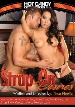 "Adult entertainment movie ""Strap On Desires"" starring Asa Akira, Lucky Starr (f) & Rocco Reed. Produced by Hot Candy Films."