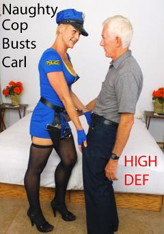 "Adult entertainment movie ""Naughty Cop Busts Carl"" starring Allison & Carl Hubay. Produced by Hot Clits Video."
