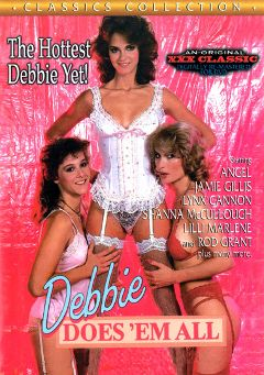 "Adult entertainment movie ""Debbie Does 'Em All"" starring Jennifer James, Angel & Cory Marjon. Produced by Cal Vista Classic."